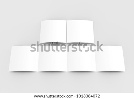 Square four folded - 4-Fold - brochure mock-up isolated on soft gray background. 3D illustrating