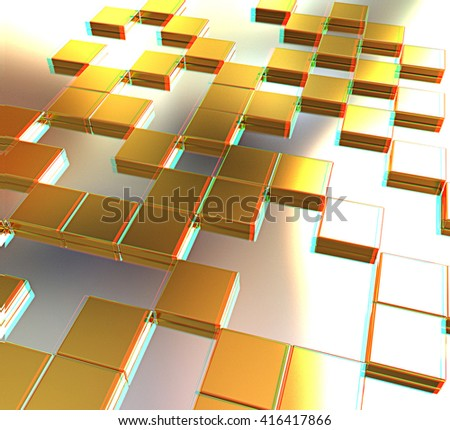 Square frame background - Design Concept . 3D illustration. Anaglyph. View with red/cyan glasses to see in 3D. - stock photo