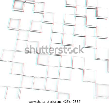 Square frame background - Design Concept . Pencil drawing. 3D illustration. Anaglyph. View with red/cyan glasses to see in 3D. - stock photo
