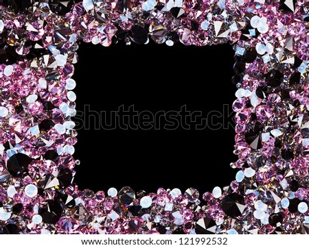 Square frame made from many small purple diamonds, with copy space on black - stock photo