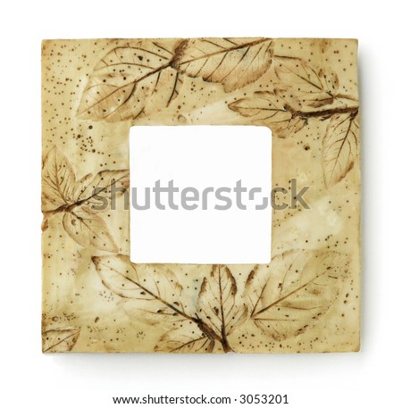 Square frame with motive of leaves in sepia color, isolated on white background - stock photo