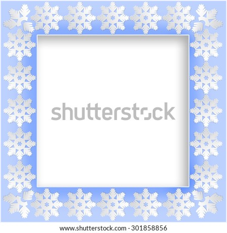 Square frame with paper snowflake background .  - stock photo