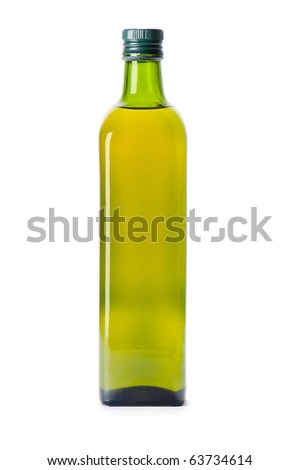 Square glass bottle of olive oil isolated on white background