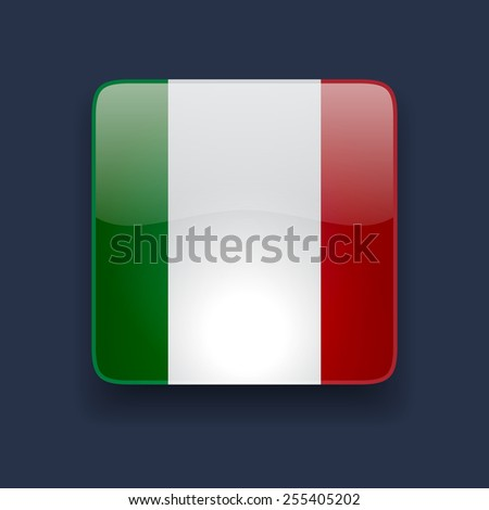 Square glossy high quality icon with national flag of Italy on dark blue background - stock photo