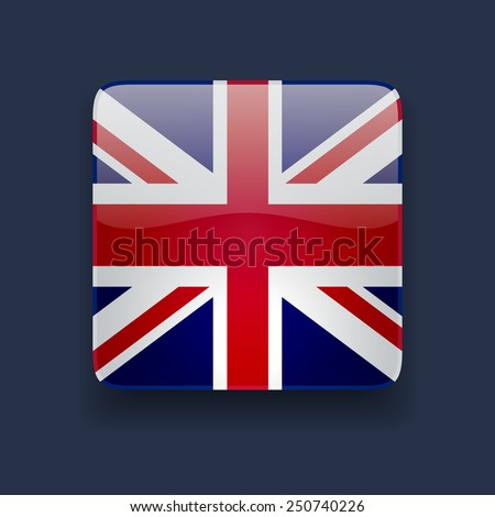 Square glossy high quality icon with national flag of the UK on dark blue background - stock photo