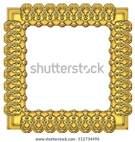 square gold frame isolate on white background