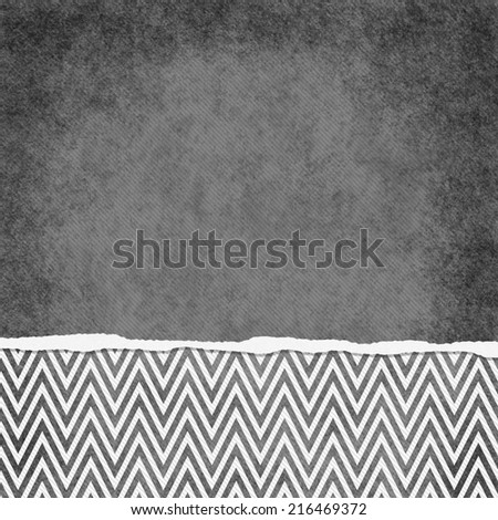 Square Gray and White Zigzag Chevron Torn Grunge Textured Background with copy space at top - stock photo