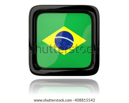 Square icon with flag of brazil. 3D illustration - stock photo