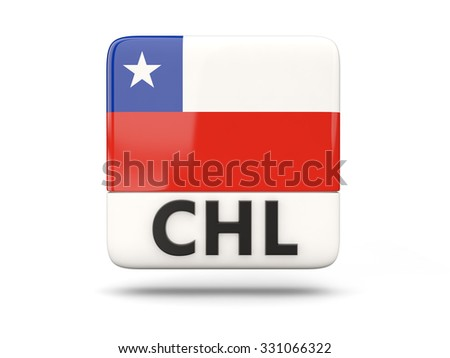 Square icon with flag of chile and ISO code - stock photo