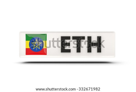 Square icon with flag of ethiopia and ISO code - stock photo