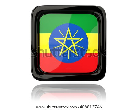 Square icon with flag of ethiopia. 3D illustration