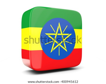 Square icon with flag of ethiopia square isolated on white. 3D illustration