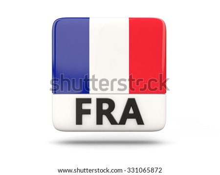 Square icon with flag of france and ISO code - stock photo