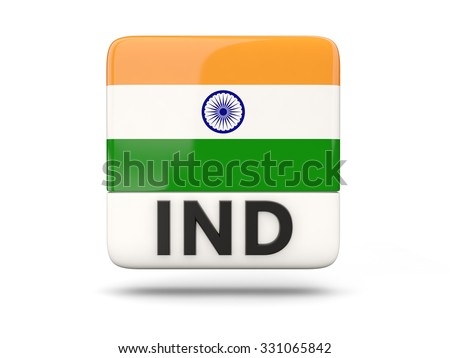 Square icon with flag of india and ISO code - stock photo