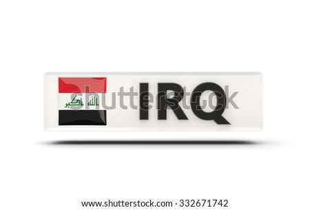 Square icon with flag of iraq and ISO code - stock photo