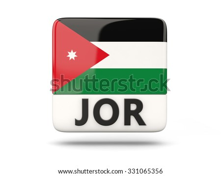 Square icon with flag of jordan and ISO code - stock photo