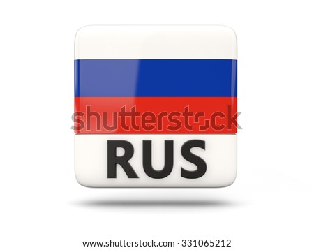 Square icon with flag of russia and ISO code - stock photo