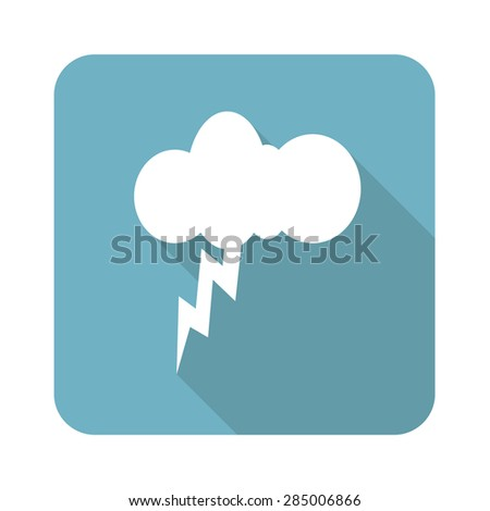 Square icon with image of cloud and lightning, isolated on white - stock photo