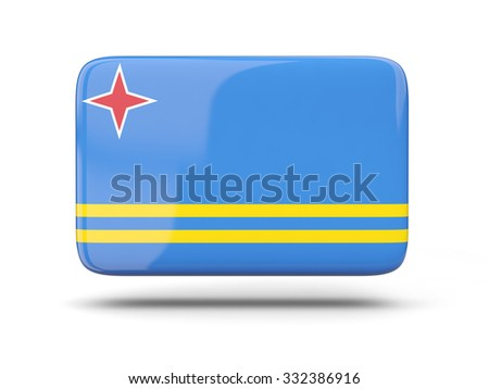 Square icon with shadow and flag of aruba - stock photo