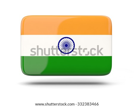 Square icon with shadow and flag of india - stock photo