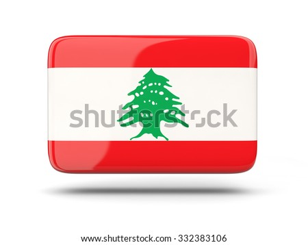 Square icon with shadow and flag of lebanon