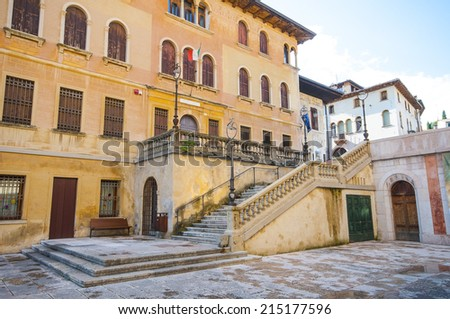 Square in Asolo, typical village near Venice  - stock photo