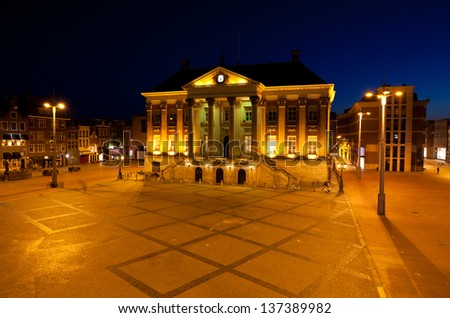 square in front of City Hall in Groningen at night, Netherlands