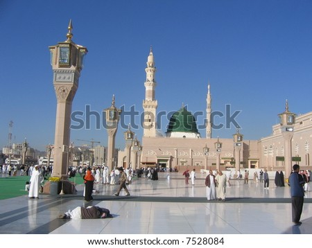 Square in front of mosque - stock photo