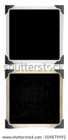 Square Instant Photo Frames with Photographic Corners. - stock photo