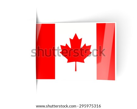 Square label with flag of canada isolated on white - stock photo