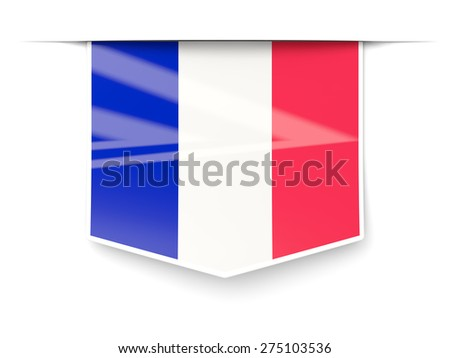 Square label with flag of france isolated on white - stock photo