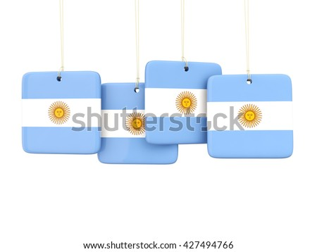 Square labels with flag of argentina. 3D illustration - stock photo