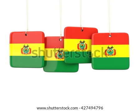Square labels with flag of bolivia. 3D illustration - stock photo