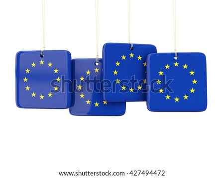 Square labels with flag of european union. 3D illustration - stock photo