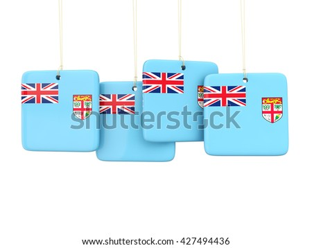 Square labels with flag of fiji. 3D illustration - stock photo