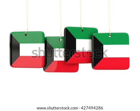Square labels with flag of kuwait. 3D illustration - stock photo