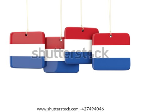 Square labels with flag of netherlands. 3D illustration - stock photo