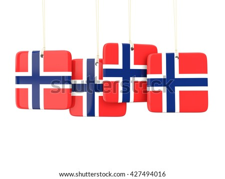 Square labels with flag of norway. 3D illustration - stock photo