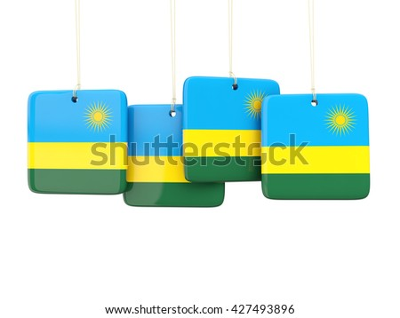 Square labels with flag of rwanda. 3D illustration - stock photo