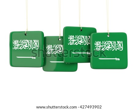 Square labels with flag of saudi arabia. 3D illustration