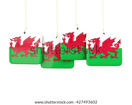 Square labels with flag of wales. 3D illustration - stock photo