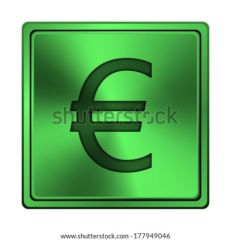 Square metallic icon with carved design on green background