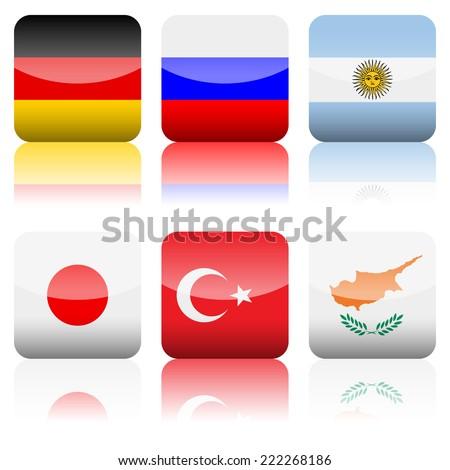 Square national flag set on a white background. - stock photo