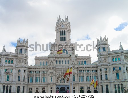 Square of Cibeles, town hall of Madrid, Spain