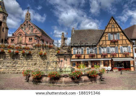 Square of Eguisheim, France - stock photo