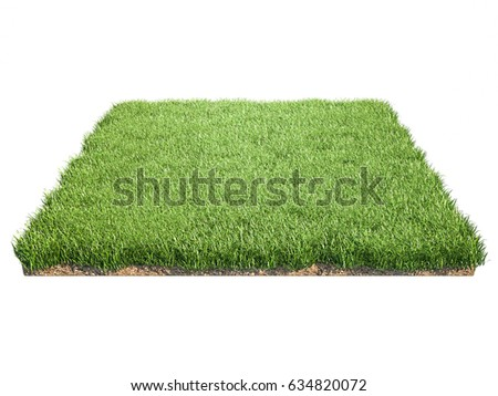 Square of grass field on white background