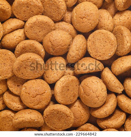 Square of pepernoten, ginger nuts. A dutch treat for Sinterklaas celebration on 5 december. Event in Holland, Netherlands. - stock photo