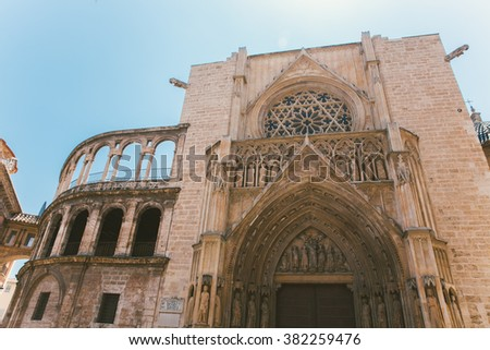 Square of Saint Mary's and Valencia Cathedral Temple in old town.Spain . - stock photo