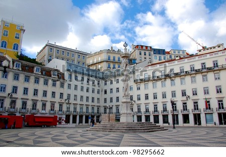 Square of the Lisbon city hall - stock photo