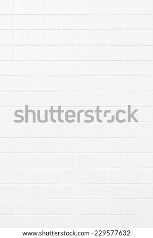Square old white tile wall background texture, portrait - stock photo